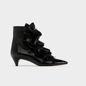 ZARA ruffled high heel leather Booties